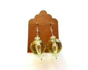 Silver Wires with Large Acrylic Green and Glass Beads Earrings Handmade by Cialeigh