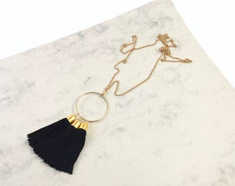 Hoop and Tassel Necklace - Black and Gold - Tassel Necklace - Statement Necklace - Gold Hoop - Fringe Necklace