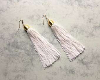 Glam Tassel Earrings - White & Gold