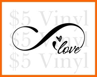Infinite Love vinyl XS-SMALL car decal, Love Sticker, Heart, Decal, Window Decal