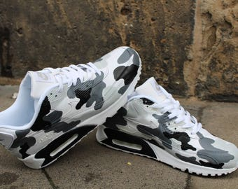 """Custom Painted leather Nike Air Max 90 """"Camouflage Black & Grey"""" unique Sneaker Art Style"""
