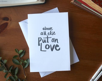 Bible Verse Wedding Love Card, Wedding Anniversary Valentines, put on love, Colossians 3 : 14 Card