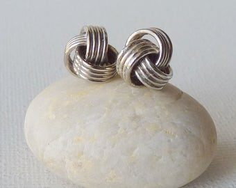 Vintage Sterling Silver Knot Stud Earrings Round Stud Earrings Retro Sterling Jewelry, Ball Post Back Earrings, Small Round Silver Studs