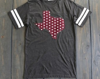 Texas State Outline Football Tee-A&M