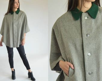 Vintage 70s cape coat poncho overcoat Womens poncho jacket Sleeveless