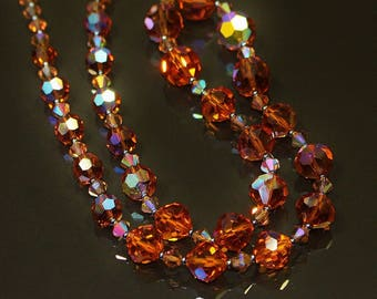 Vintage Copper Orange Aurora Borealis Crystal Necklace Black Rhino Design Single Strand Small Cone Crystals w Grey Miniature Seed Beads