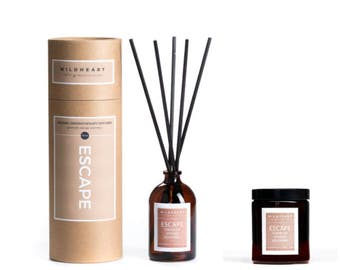 Soy Aromatherapy Candle and Diffuser - NYC Apothecary ESCAPE,  essential oils of Geranium Rosemary & Orange
