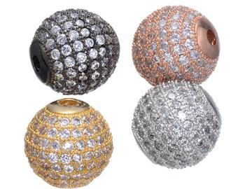 5pcs 12mm CZ Pave Bead, European Beads, Brass Bead,Cubic Zirconia Pave Bead PZ0025