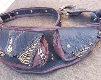 Black Leather Hip Bag with 4 pockets
