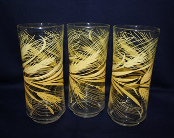 Libby Wheat Tumblers Vintage Drinking Glasses Set Of Three
