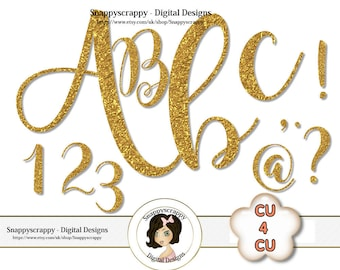 Gold Alphabet, Digital Gold Alphas, Gold Foil Alphas, Scrapbooking Alphas, Commercial Use, Instant Download, CU4CU