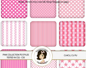CU4CU, Photoshop Styles, PS Styles, Photoshop, Digital PS Styles, Commercial Use, Instant Download,  Pink Patterns PS Styles