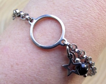 Bracelet stainless steel Star Blue River Pearl