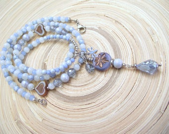 Long chain Dragonfly Dragonfly light blue ice blue Czech glass beads