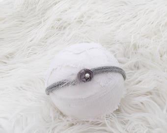 Newborn Photography Prop Headband {Gray}