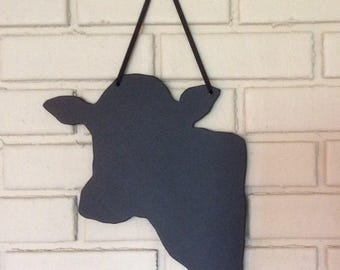 Chalkboard Cow or Farm Cattle Handmade Wall Hanging - Chalkboard Silhouette Shadow - Country Decoration