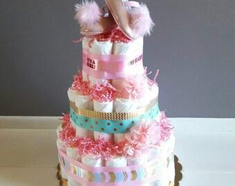 Diaper Cake/ It's A Girl Diaper Cake/ Pink Diaper Cake/ Baby Girl Diaper Cake/ Baby Shower Decor Centerpiece/ Baby Shower Cake/ Baby Gift