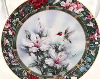 Bradford Exchange W.L. George Fine China Lena Liu's Hummingbird Treasury Plate #15046N, The Ruby-throated Hummingbird, Excellent Cond