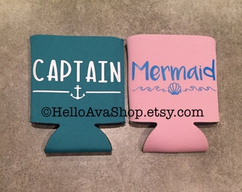 Captain Mermaid Couple Can Coolers • Neoprene • Collapsible