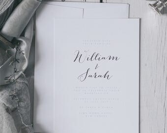 Printed Elegant and Romantic Silver Embossed Wedding Invitations. Silver Foil Wedding invites