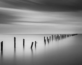 Bridport Pier, Fine Art Black & White Photography, Landscape Photography, Wall Art, Gallery Art, Fine Art Print, Michael Evans