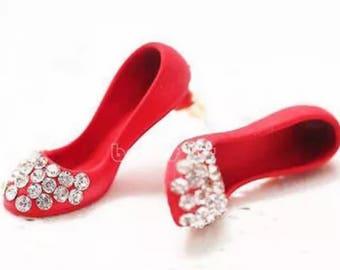 Cute And Fun Girls Crystal Red Shoe Stud earrings