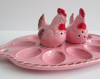 Vintage 3 Pieces Made In Japan Chicken Salt & Pepper Shakers With EggsTray