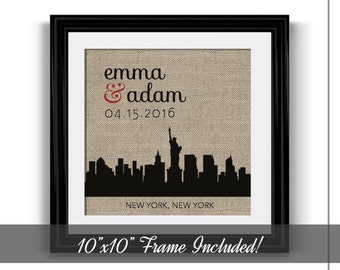 New York City Skyline | Engagement Gift | Engagement Gift for Couple | Personalized Wedding Gift | 1 Year Anniversary for Him | Wedding Gift