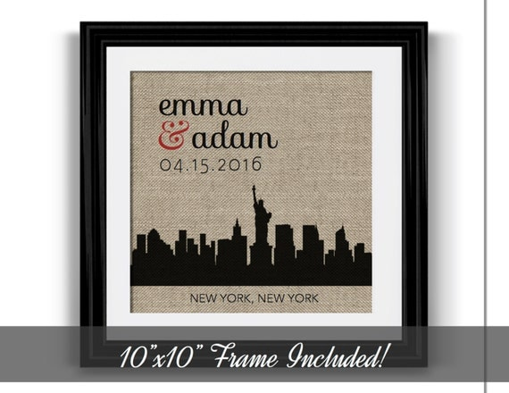 Unique Wedding Gifts Nyc : New York City Skyline Engagement Gift Engagement Gift for