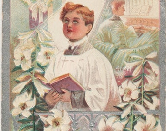 4 Vintage  Easter Postcards  Easter Lily Series - Chicks - Doves