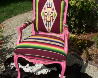 Made to order** Cowgirl Chic Pink Serape Blanket Chair
