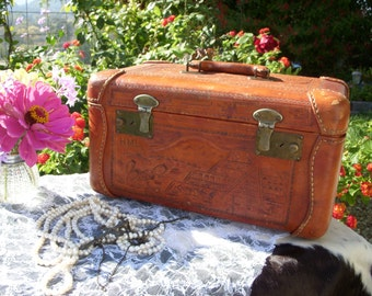Vintage Tooled Leather Train case for Jewelry or Cosmetics
