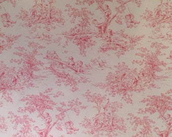 Kaufman Rose Pink on Light Cream French Style Toile de Jouy Fabric