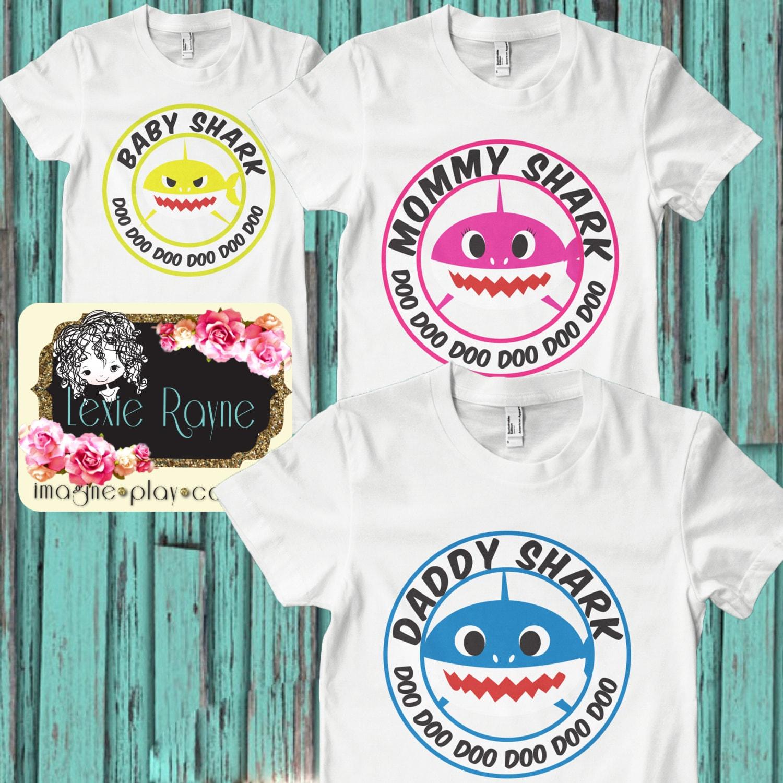 Daddy Shark Mens Shirt Mens T Shirt Papa Bear Shark