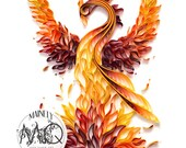 Quilled Paper Art Print | Rising Phoenix Original Quilled Artwork