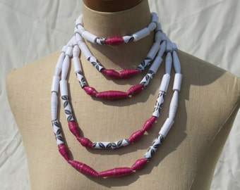 Statement necklace; Paper bead necklace; layered beaded necklace; African jewelry