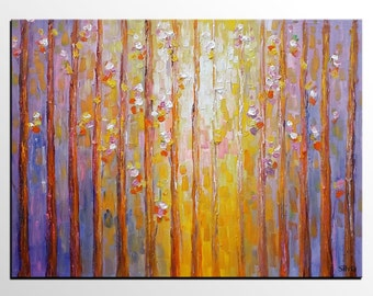 Landscape Painting, Canvas Art, Abstract Art, Birch Tree Art, Oil Painting, Wall Art, Canvas Painting, Abstract Painting, Large Wall Art