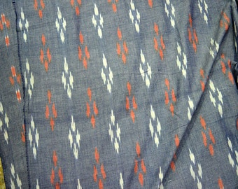 Indian Fabric Grey Ikat Fabric, Cotton by the yard, Handloom Ikat Cotton Fabric, Homespun Cotton, Ikat Upholstery Fabric, Handwoven Ikat