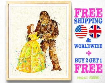 Disney Beauty and the Beast Belle Star Wars Chewbacca Watercolor Painting Poster Print Wall Art Watercolor Art Home Decor Gifts mf417