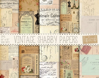 "Vintage ephemera : ""Vintage Shabby Ephemera"" vintage digital paper for decoupage, scrapbooking, card making and crafts, french digital paper"