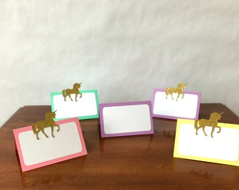 Unicorn Place Cards / Food Tents - rainbow party - pastel - party supplies
