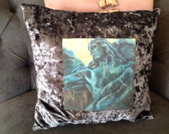 Italian Renaissance blue and grey angel oil painting on crushed velvet pillow. Adds elgance to drawing room and / or bedroom.