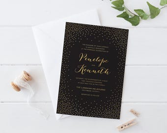 Printable Wedding Invitation Set, Black Gold Confetti Wedding Invitation Set, Celebration Confetti Wedding Invitation Set