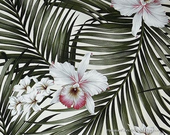 Floral Upholstery Fabric Tropical Flower Orchids Palm Leaf, Home Office Decor Bedding Curtains HCVN9806 Ask for Bulk