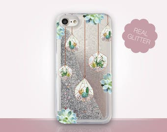 Succulent Glitter Phone Case Clear Case For iPhone 8 iPhone 8 Plus - iPhone X - iPhone 7 Plus - iPhone 6 - iPhone 6S - iPhone SE  iPhone 5