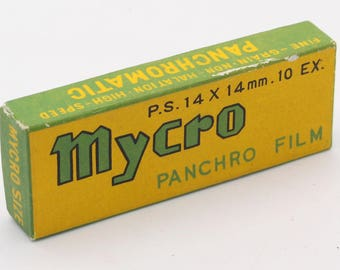 Unused Mycro Panchro Spy Camera Film P.S. 14x14mm two sealed rolls of 10 exposures for Mycro and Hit Cameras in box. - 1959 Expiry Date