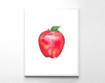 Instant Download, Apple Print, Apple Watercolor, Watercolor Painting, Red Apple, Apple Painting, Apple Kitchen Art, Apple Download