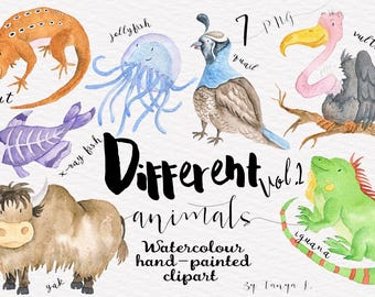 Watercolor Animals Clipart, Hand-painted Clipart, Watercolor Clipart, Cute Animals Clipart, Nursery Clip Art, Kids Clipart, Commercial Use