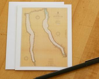 "Cayuga & Seneca Lakes Map Note Cards (1917) 4.25""x5.5"""
