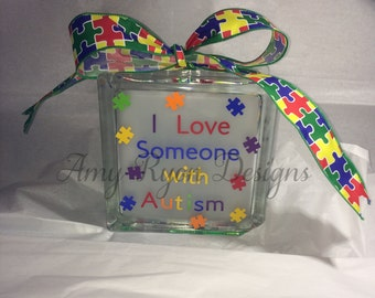 Autism Lighted Glass Block, I Love Someone With Autism Lighted Glass Block, Autism Decor, Autism Glass Block, Autism Awareness